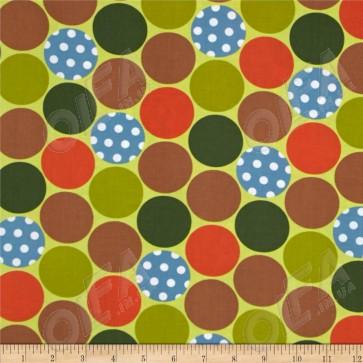 Ткань 45х55 см - Moda - Счастливое сияние - Счастливые горошинки на зелени