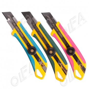 Сегментный нож 18 мм Olfa L-7 (розовый, зеленый, синий)