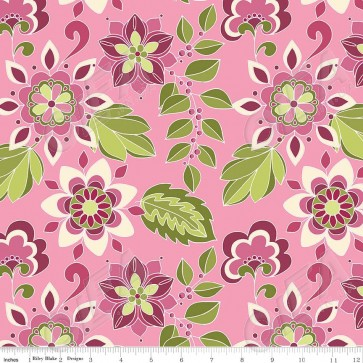 Ткань 45х55 см - Riley Blake - Симметрия - Цветы - Ягодный