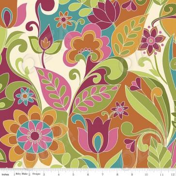 Ткань 45х55 см - Riley Blake - Симметрия - Икебана - Мультицвет
