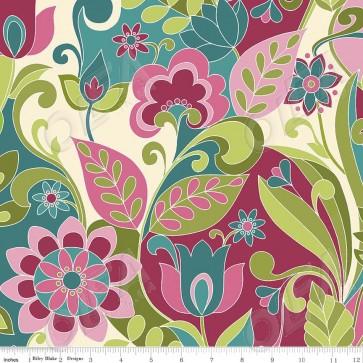 Ткань 45х55 см - Riley Blake - Симметрия - Икебана - Зеленый