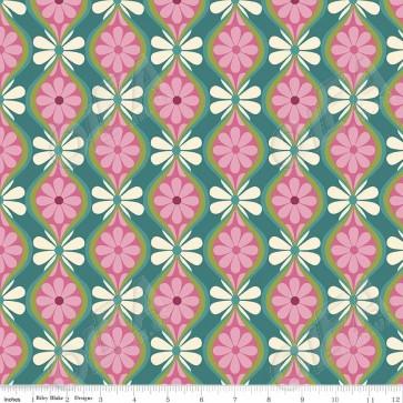 Ткань 45х55 см - Riley Blake - Симметрия - Цветочные полосы - Зеленый