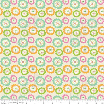 Ткань 45х55 см - Riley Blake - Совушкины цветы - Кремовый