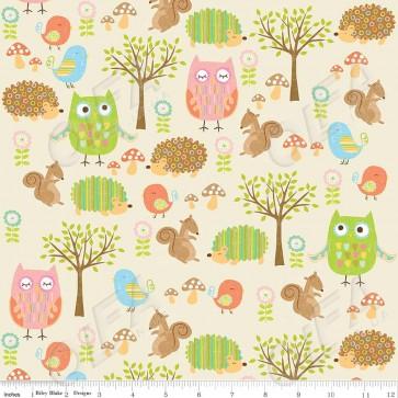 Ткань 45х55 см - Riley Blake - Лесные друзья совы - Кремовый