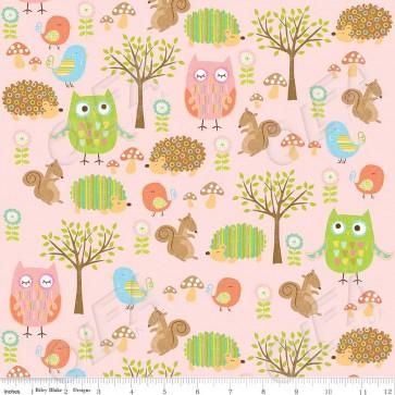 Ткань 45х55 см - Riley Blake - Лесные друзья совы - Розовый