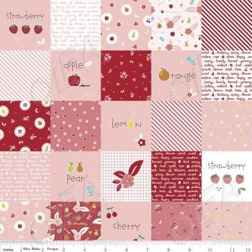 Ткань 45х55 см - Riley Blake - Сладкий сад - Веселые квадраты - Розовый