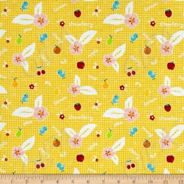 Ткань 45х55 см - Riley Blake - Сладкий сад - Фрукты - Желтый