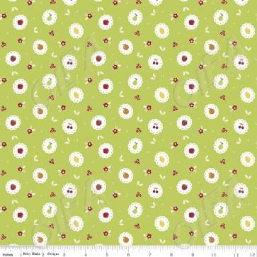 Ткань 45х55 см - Riley Blake - Сладкий сад - Фруктовые круги - Зеленый
