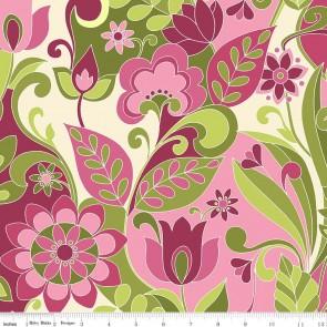 Ткань 45х55 см - Riley Blake - Симметрия - Икебана - Ягодный