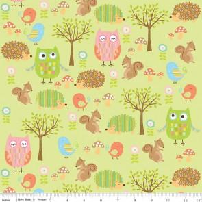 Ткань 45х55 см - Riley Blake - Лесные друзья совы - Зеленый