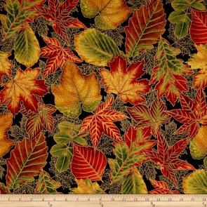 Ткань 45х55 см - Robert Kaufman - Оттенки сезона - Большая листва - Ночь