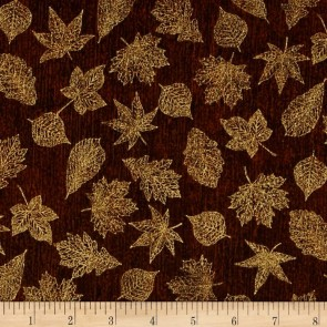 Ткань 45х55 см - Robert Kaufman - Оттенки сезона - Золотая листва - Коричневый