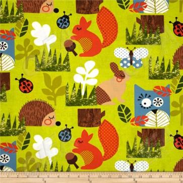 Ткань 45х55 см - Moda - Счастливое сияние - Веселый лес в зелени