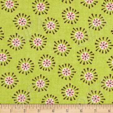 Ткань 45х55 см - Moda - Счастливое сияние - Солнечные горошинки на зелени