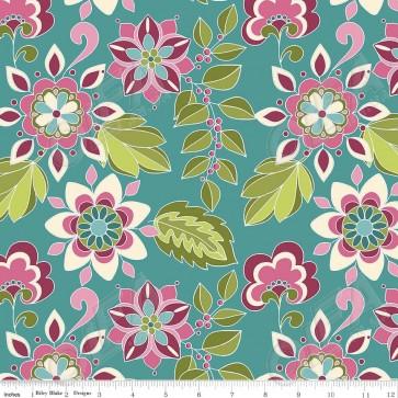 Тканина 45х55 см - Riley Blake - Симетрія - квіти - Зелений