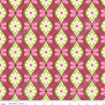 Тканина 45х55 см - Riley Blake - Симетрія - Квіткові смуги - Ягідний