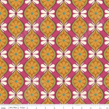 Тканина 45х55 см - Riley Blake - Симетрія - Квіткові смуги - Мультиколір