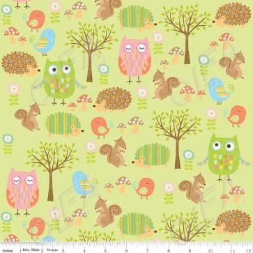 Тканина 45х55 см - Riley Blake - Лісові друзі сови - зелений