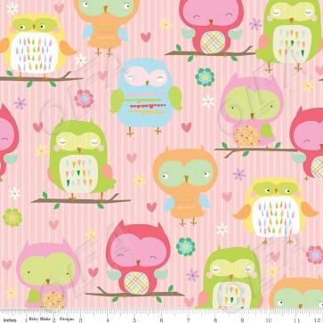 Тканина 45х55 см - Riley Blake - Сова - рожевий