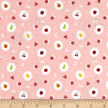 Тканина 45х55 см - Riley Blake - Солодкий сад - Фруктові кола - Рожевий