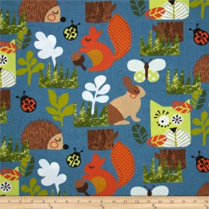 Ткань 45х55 см - Moda - Счастливое сияние - Веселый лес на озере