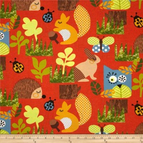 Ткань 45х55 см - Moda - Счастливое сияние - Веселый лес на закате солнца