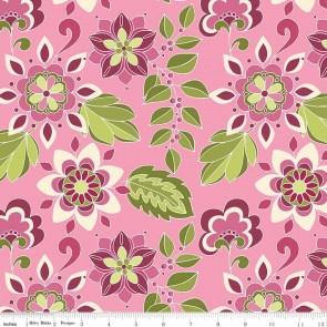Тканина 45х55 см - Riley Blake - Симетрія - Квіти - Ягідний