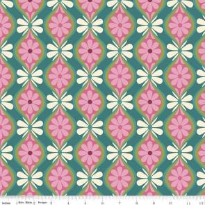 Тканина 45х55 см - Riley Blake - Симетрія - Квіткові смуги - Зелений