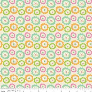 Тканина 45х55 см - Riley Blake - Квіточки сови - Кремовий