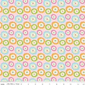 Тканина 45х55 см - Riley Blake - Квіточки сови - рожевий