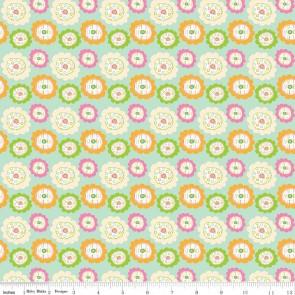 Тканина 45х55 см - Riley Blake - Квіточки сови - зелений