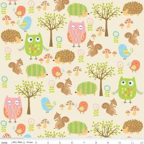 Тканина 45х55 см - Riley Blake - Лісові друзі сови - Кремовий