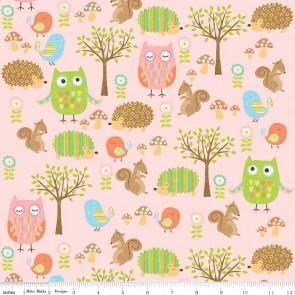 Тканина 45х55 см - Riley Blake - Лісові друзі сови - рожевий