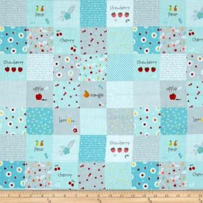 Тканина 45х55 см - Riley Blake - Солодкий сад - Веселі квадрати - Аква