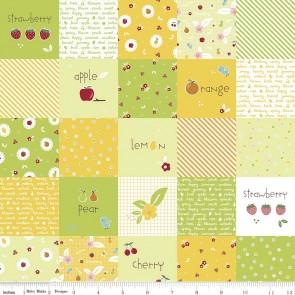 Тканина 45х55 см - Riley Blake - Солодкий сад - Веселі квадрати - Зелений