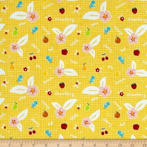 Тканина 45х55 см - Riley Blake - Солодкий сад - Фрукти - Жовтий